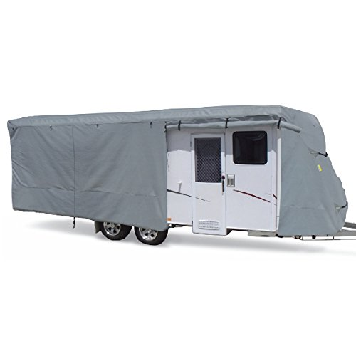 Summates Travel Trailer Cover RV Cover,Color Gray, 4 Layer Polypropylene Fabric for Whole Cover, fits Most Sizes (Fits 14-16ft Travel Trailer, Gray)