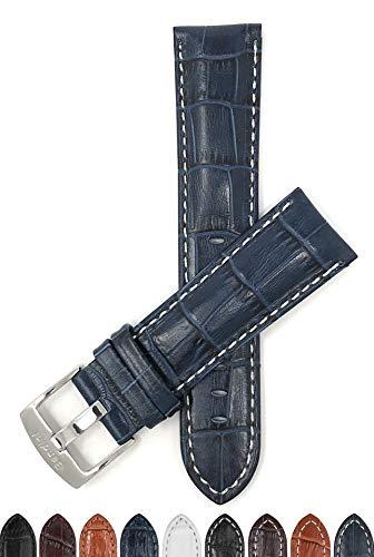Extra Largo (XL) 22mm Correa Reloj de Cuero auténtico, Azul, Acabado Brillante, Aligator Grano, Hebilla de Acero Inoxidable, también Disponible en Negro, Blanco, marrón et marrón Rojizo
