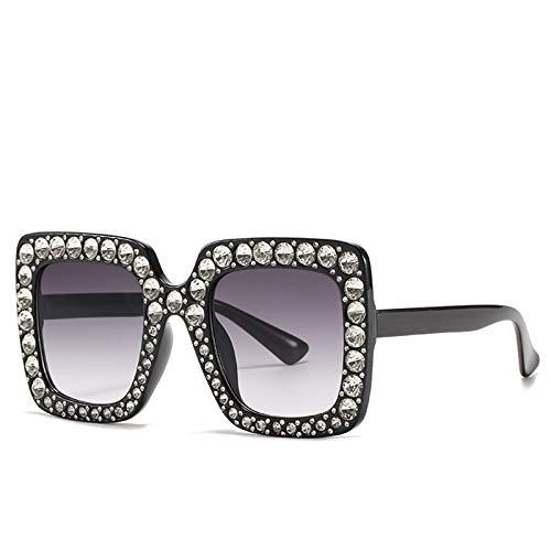 LALB Gafas De Sol, Mujeres Europeas Y Americanas con Gafas De Sol De Marco De Diamantes, Gafas Cuadradas Grandes, Gafas De Sol De Diamante Completo,E
