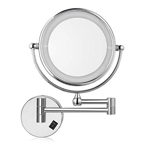 Espejo de baño de 8 '' Espejos de afeitar montados en la pared, espejo de maquillaje iluminado por LED con aumento de 10 aumentos, para tocador de hotel, dos superficies giratorias con acabado cromado