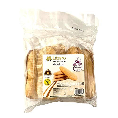 Lázaro Melindros Artesanales (bizcochitos Alargados Esponjosos Cocidos en Horno de Piedra) Sin Leche Ni Proteína de Leche, 160 Gramos