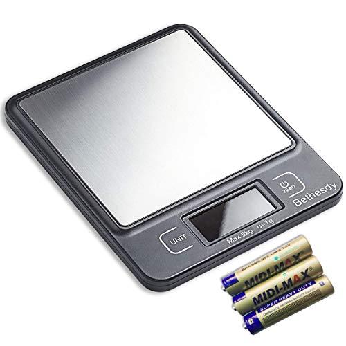 Bethesdy Básculas Digitales de Cocina para Alimentos, 5000 g, Delgadas, de Alta precisión, electrónicas con función de Tara, retroiluminada LCD para el hogar, la Oficina y la Cocina