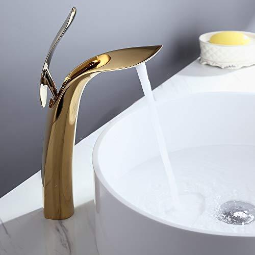Weibath - Grifo monomando para lavabo (1 orificio, latón macizo), color dorado