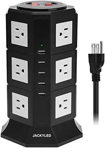 Surge Protector Power Strip Tower JACKYLED 12 AC Outlets 3000W 15A and 5 USB Slots 8A Desktop product image