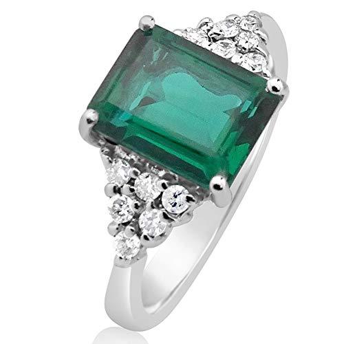 MILLE AMORI ∞ - Anello di fidanzamento da donna in oro e diamanti ∞ oro bianco 9 kt 375 diamanti 0,18 Kt ∞ smeraldo sintetico 2,40 Kt 9 x 7 ∞ Gems e Oro bianco, 15, cod. 2376