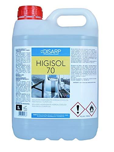 HIGISOL 70 -Solución Hidroalcohólica para Manos y Superficies, antibacterias de secado instantáneo. Envase 5 Litros