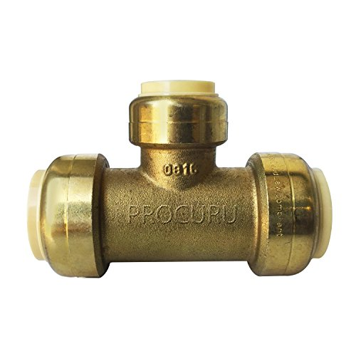 "PROCURU PushFit Reducing Tee 3/4"" x 3/4"" x 1/2"" - Plumbing Fitting for Copper, PEX, CPVC Pipe, Lead Free Certified (3/4"" x 3/4"" x 1/2"")"
