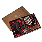 XYZMDJ 6 unids/Set Juego de Regalo para Hombres Relojes bellamente empaquetados + Billetera con cinturón de Gafas Moda Creativa Reloj de Cuarzo Masculino para Hombres Horas de Reloj