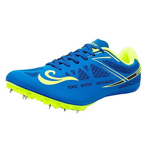 FJJLOVE Zapatillas de Atletismo Unisex Zapatillas de Cricket Zapatillas ultraligeras Profesionales de 8 Clavos Zapatillas de Entrenamiento para competición,Azul,43