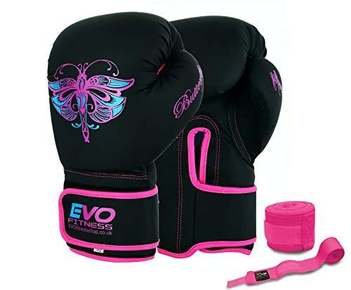 EVO Fitness - Guanti da boxe da donna, colore: Rosa opaco