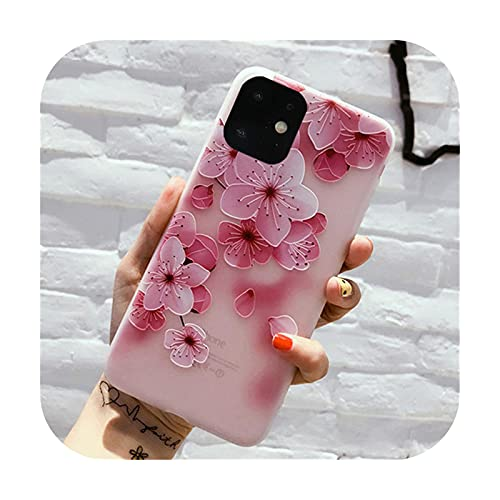 Ti'an Schutzhülle für iPhone 11 Pro Max X XR XS 6 6S 7 8 Plus, matt, knifflige 3D-Rosen-Malerei, Relief, weiche TPU-Rückseite, Fundas-T7-For iPhone 12Pro Max