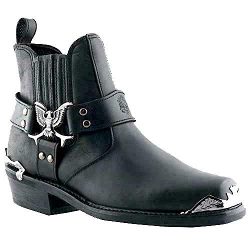 Grinders Herren Cowboystiefel Adler Lo Western Leder Schwarz, Schwarz - Schwarz - Größe: 42 2/3 EU