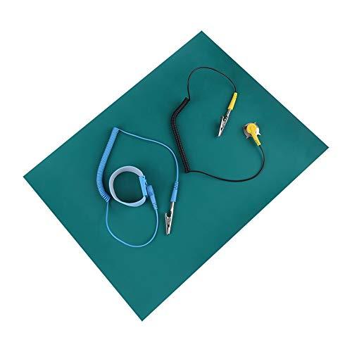 Pulsera Antiestatica con Alfombrilla Antiestática, Pinza de Cocodrilo y Protección Contra Descargas Electrostáticas de Cable a Tierra Muñequeras Antiestáticas para Electrónica Sensible Trabajando