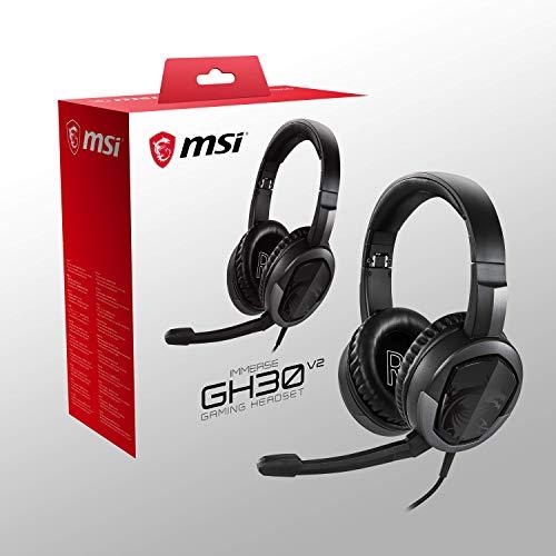 MSI Immerse GH30 V2 Gaming-Kopfhörer, faltbar, mit Mikrofon, leicht, Schwarz, 173 x 86 x 204
