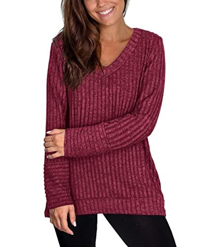 Therlop Sudadera para mujer, suéter casual con cuello en V, sudadera a rayas, manga larga, suelta, holgada, para mujer, rosso, L alto