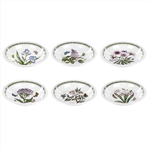 Portmeirion Botanic Garden Collection Pasta Bowls - (6) Assorted Motifs - Dishwasher, Microwave, Warm Oven Only and Freezer Safe - Made in England