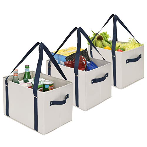 GRANNY SAYS Reusable Grocery Bags, Collapsible Reusable Shopping Boxes with Straps and Handles, Large Storage Bins, Shopping Tote Bag, Gray and Navy, 3-Pack