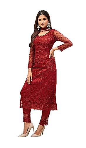 Yami Fashion Women's Net and Soft Silk Full Embroidery Semi-Stitched Red Salwar Suit