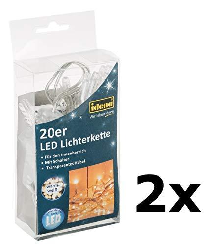 Idena 20-er LED Lichterkette mit Schalter, für Innen, Länge 3,40 m, warm-weiß, Energieklasse A++ (warm-weiß, 2X)