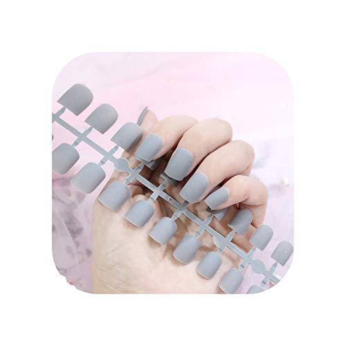Nail Factory 24 pcs Givré Mat Ongles Pour Les Femmes Couleur Unie Faux Ongles Pleine Couverture Court Faux Conseils Ongles Artificiels-TJP720-Y2-