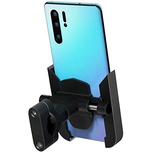 AMAZOM Soporte para Teléfono para Bicicleta/Motocicleta Manillar De Aluminio Soporte para Teléfono 360 Giratorio Compatible La Mayoría De Los Teléfonos Móviles (Negro)