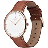 Nordgreen Native Scandinavian Rose Gold Unisex Analog 36mm Watch with Brown Leather Strap 10055