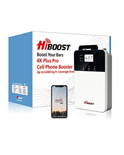 HiBoost Signal Boosters for Home and Office - Cell Phone Boosters Up to 3,000-6,000 sq. ft, Signal Extender Cellular Booster Compatible with AT&T, T-Mobile, Verizon, Sprint, and US Cellular