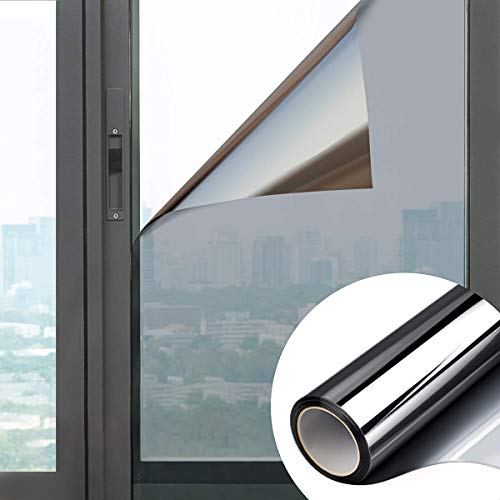 Ekoch Pellicola Specchio Anti-UV e Controllo del Calore per Vetri Finestre Autoadesiva per Privacy Adatto per Ufficio Casa (Argento, 90x200 cm)