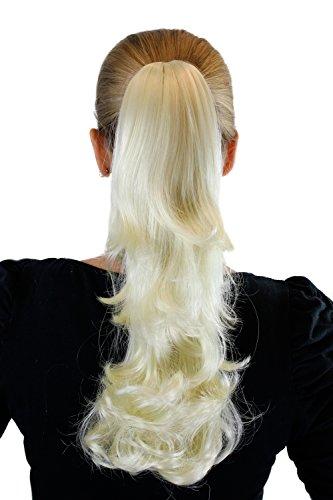 Postiche blond platine env. 40 cm pointes arqués, clip pince papillon XF-0098R-613