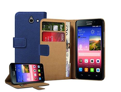 Membrane - Blau Brieftasche Klapptasche Hülle kompatibel mit Huawei Ascend Y550 (Y550-L01, Y550-L02, Y550-L03) + 2 Bildschirmschutzfolie