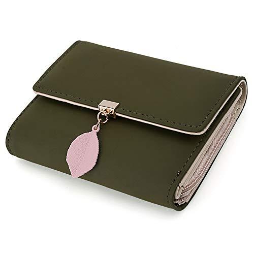 UTO Damen Geldbörse Blatt Anhänger PU Leder Kleine Brieftasche 5 Kartensteckplätze 1 ID Fenster Kartenhalter Organizer Mädchen Reißverschluss Olivgrün