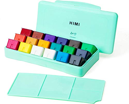 HIMI Gouache - Juego de pintura de gelatina (18 colores vibrantes, no tóxicos, con estuche portátil, paleta para pintura de lienzo de artista, papel de acuarela, pigmento rico, 30 ml/taza (caja verde)