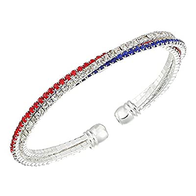 American Flag Bracelet Red Bangles Patriotic Decorations Gifts Rhinestone Bracelet Clear Crystal Cuff Bracelet Bangle Lightweight Silver Plated Red Blue White Bracelet For Women Mens, Patriotic 4th Of July Independence Day Gift
