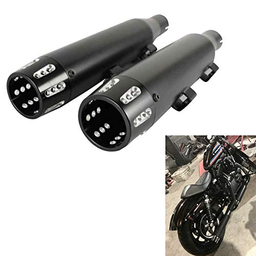 "SHARKROAD 3"" Black Slip on Mufflers Exhaust for Harley 2014-2021 Sportster XL 883/1200, Increased Sound and Performance by Straight, Free-Flowing Mufflers. 3002BB"