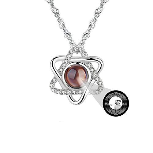Collar de proyección personalizado 100 collares de diferentes idiomas Collar de foto TE QUIERO Collar colgante entretejido(Plata Blanco y negro1 20)