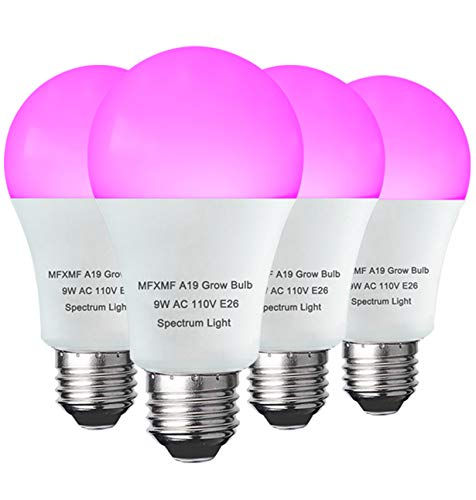 4 Pack LED Indoor Plant Grow Light Bulb A19 Bulb, Full Spectrum Plant Light Bulb, 9W E26 Grow Bulb Replace up to 100W, Grow Light for Indoor Plants, Flowers, Greenhouse, Indore Garden, Hydroponic