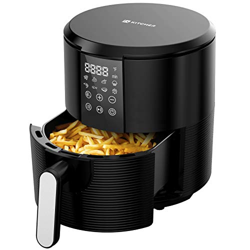 KITCHER 3.5Qt Air Fryer LED Touch Digital Screen Hot Air Fryers Oven Oilless Cooker with Temperature Control 60 Minutes Timer Non-stick Fry Basket 50 Recipes Auto Shut Off Feature, Black (KAF3001)
