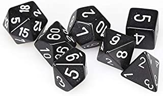 Chessex Dice: Polyhedral 7-Die Opaque Dice Set - Black with White