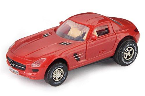 Darda 50374 - Darda Auto Mercedes Benz SLS AMG rood, raceauto met verwisselbare terugtrekmotor, voertuig met motor voor het opwinden van kinderen vanaf 5 jaar, trekker voor Darda racebanen