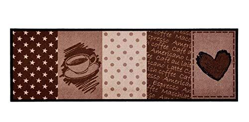 Bavaria Home Style Collection Küchenläufer/Küchenmatte/Dekoläufer für Küche und Bar/Teppich Läüfer/Küchenläufer/Küchendeko Modell Herz- Heart - Kaffee - Coffee - braun ca. 50 x 150 cm