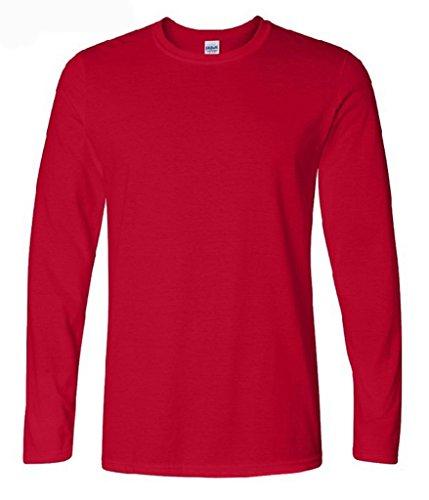 Bigood T-Shirt Homme Tops à Manches Longues Veste Coton Chemise Col Rond Sport Casual Rouge Bust Largeur 44cm