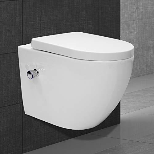 ECD Germany Spülrandloses Wand Hänge Dusch WC lang aus Keramik mit Bidet-Funktion - Soft-Close Absenkautomatik Toilettensitz WC-Sitz Duroplast - abnehmbar - Weiß - Wand WC Tiefspül WC Hänge Toilette