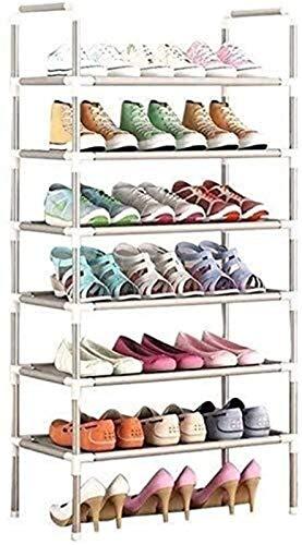 QZMX Estante de Zapatos Niveles Zapatero Estantes Regulables for los estantes de Almacenamiento Inicio Metal for Sala de Estar, de Entrada, Pasillo y Armario,Plata (Dimensiones: 6 Niveles) Estante