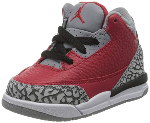 Nike Jordan 3 Retro SE (TD), Scarpe da Basket, Fire Red/Fire Red-Cement Grey-Black, 21 EU