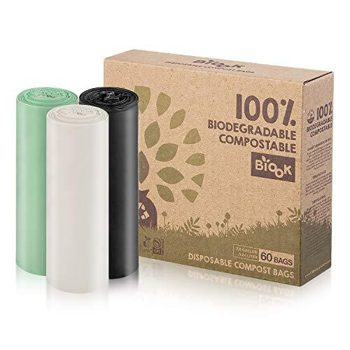 BIOOK Bolsas de basura 100% Compostables, 10L, 60 Bolsas, PLA + PBAT-Based Materials Biodegradable, Reciclaje, Fuerte, a prueba de fugas, BPI ASTM D6400 y EN13432 OK Compost Certificación