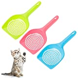 Yorgewd 3 Pack Cat Litter Scoop Cat Litter Shovel Pet Cleaning Tool Pet Cat Dog Litter Poop Scooper Sieve Set Plastic Easy to Clean (Pink, Blue, Green)