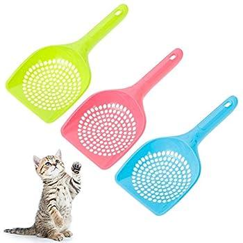 Yorgewd Lot de 3 pelle à litière pour chat et chat en plastique facile à nettoyer (rose, bleu, vert)