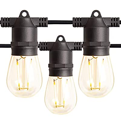 Amico 48FT LED Outdoor String Lights with LED Edison VintagePlastic Bulbs and Weatherproof Strand - Decorative LED Café Patio Light, Bistro Lights