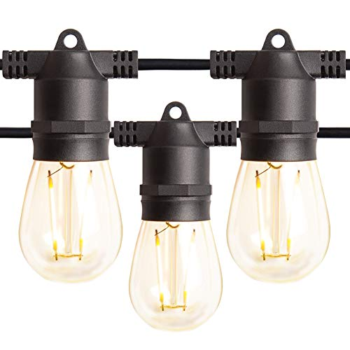 Amico 48FT LED Outdoor String Lights with LED Edison Vintage Plastic Bulbs and Weatherproof Strand - Decorative LED Café Patio Light, Bistro Lights