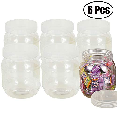 Fantastic Deal! Set of 6 Pcs Plastic Food Storage Container with Lid 15.2-oz Clear Plastic Candy Jar...